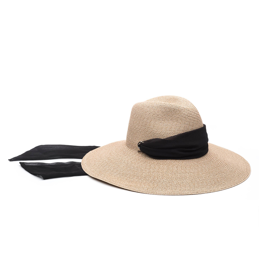 Eugenia Kim Cassidy Hat in Sand with Black Scarf Accessories