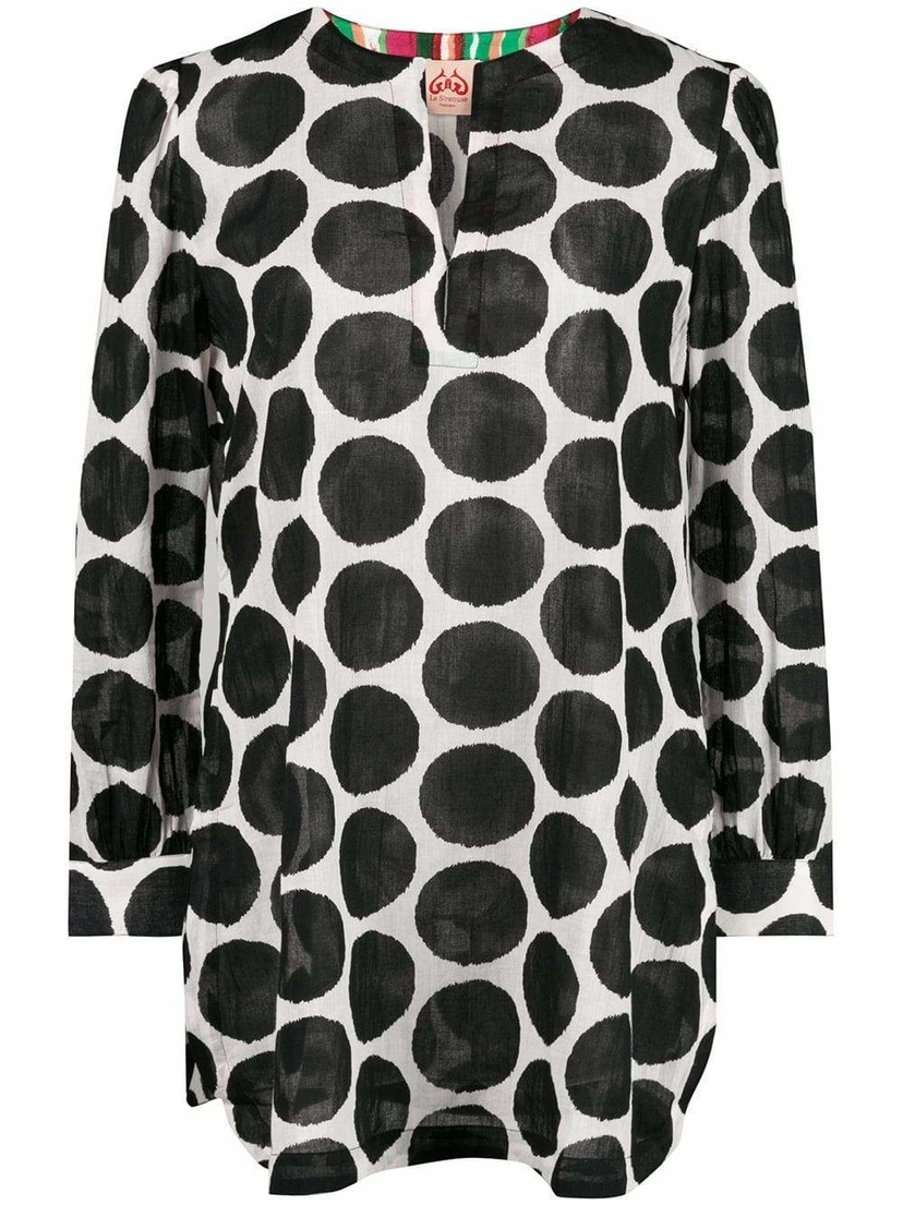 Le Sirenuse Kate V Neck Dot Print Tunic Tops