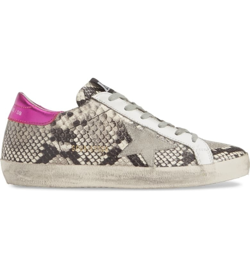 Golden Goose Deluxe Brand Superstar Sneaker - Snake Print & Fuchsia Shoes