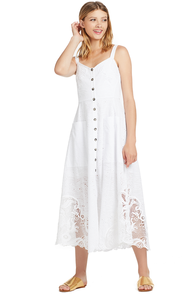 Saloni Fara-B Dress (White) Dresses