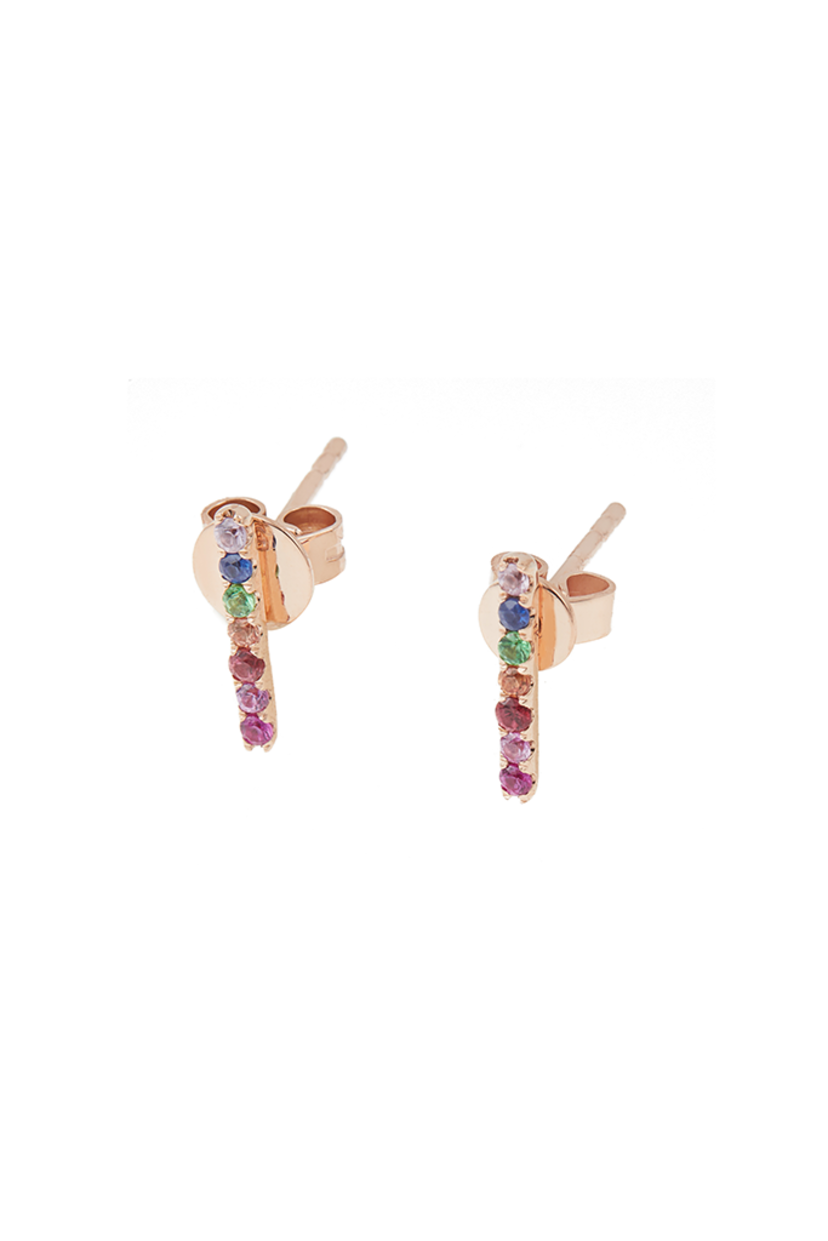 Milk Boutique 14K Rose Gold Sapphire Rainbow Studs Jewelry