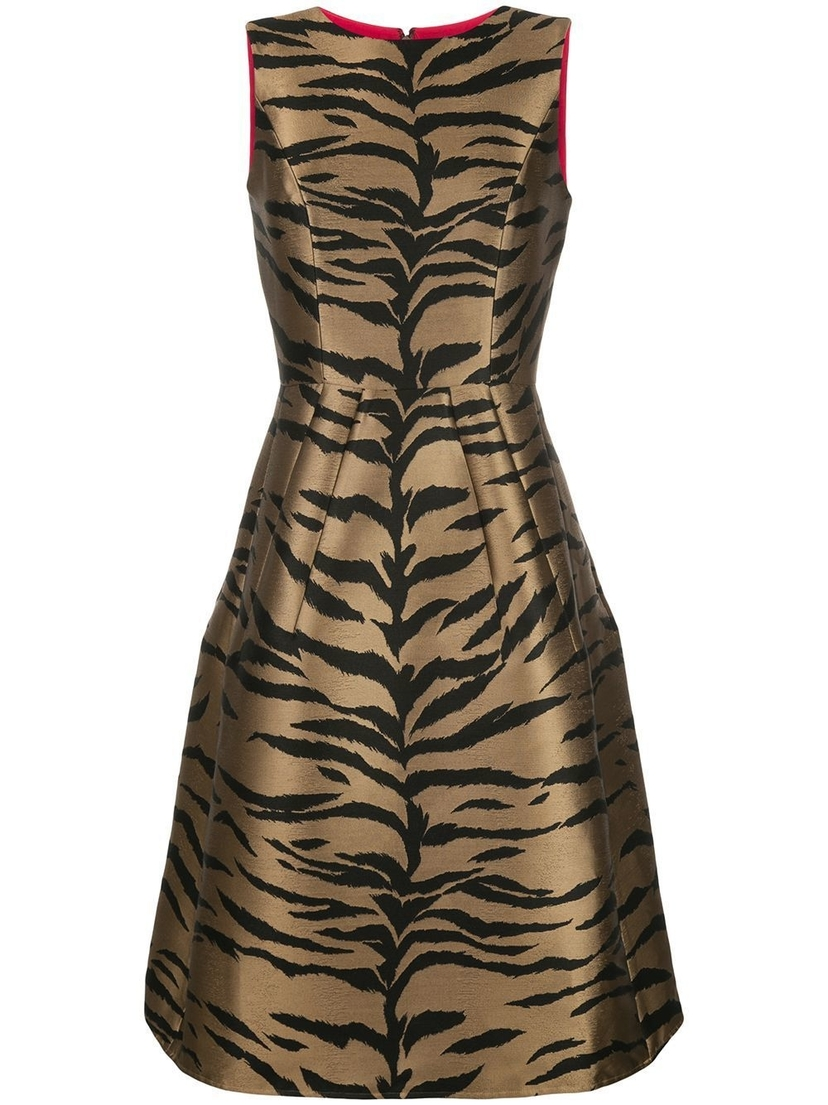 Carolina Herrera Sleeveless Tiger Jacquard A-Line Midi Dresses