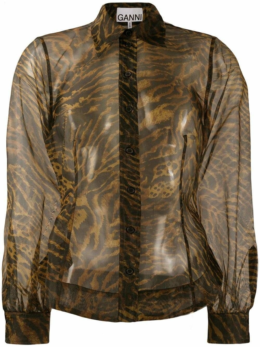 Ganni Tiger Print Organza Button Down Shirt Tops