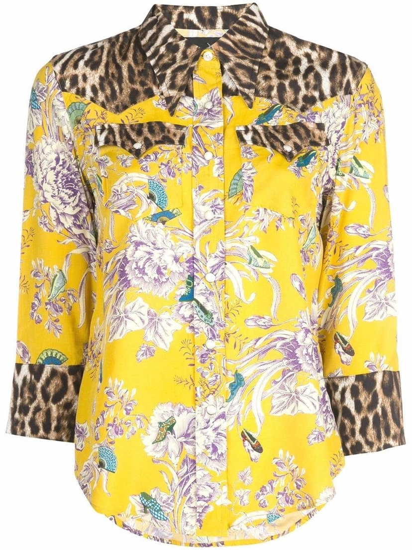 R13 Floral & Leopard Button Down Shirt Tops