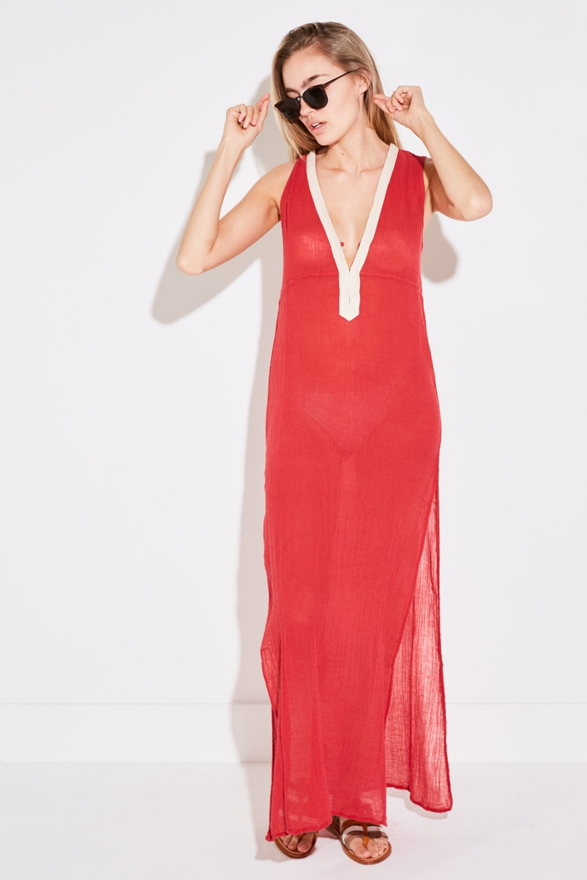 Ambas LONG SLEEVELESS TUNIC IN POMPEIAN RED Dresses