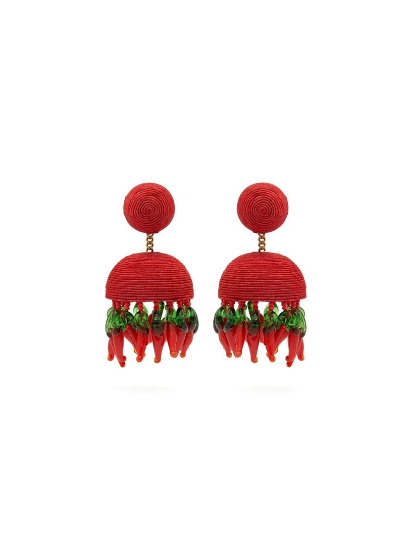 Rebecca De Ravenel Paprika Chili Silk Earring Jewelry Sale