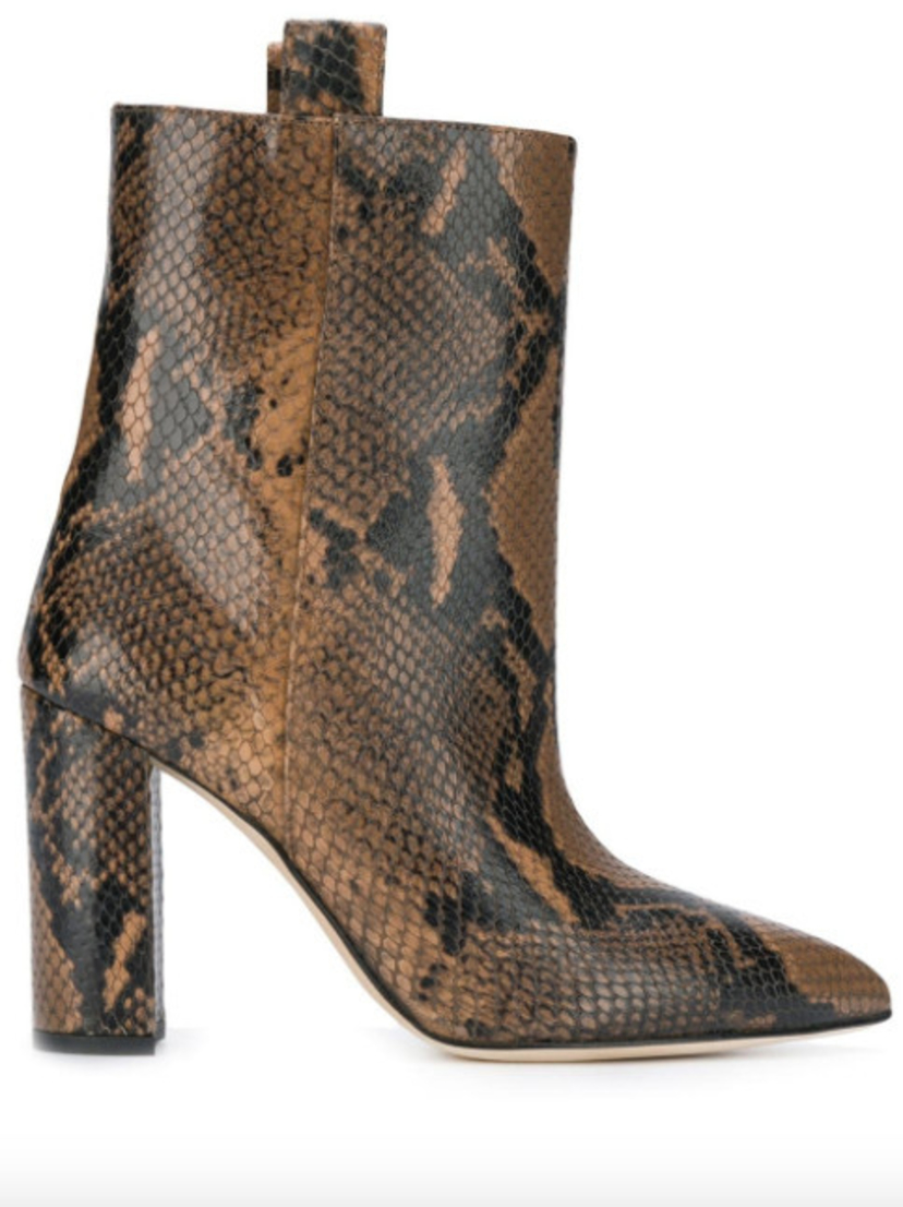 Paris Texas Snake Print Ankle Boot - Camel Shoes