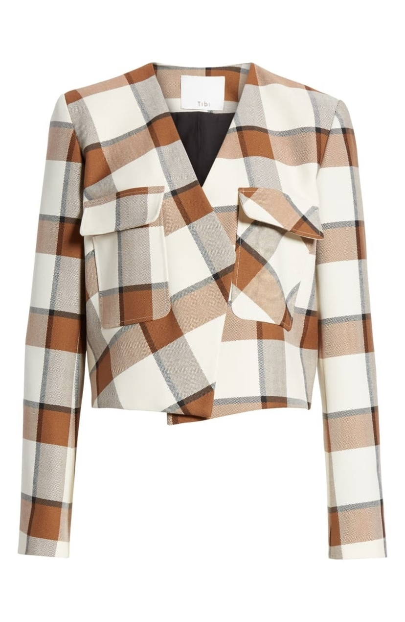 Tibi Dylan Plaid Cropped Jacket Outerwear Sale