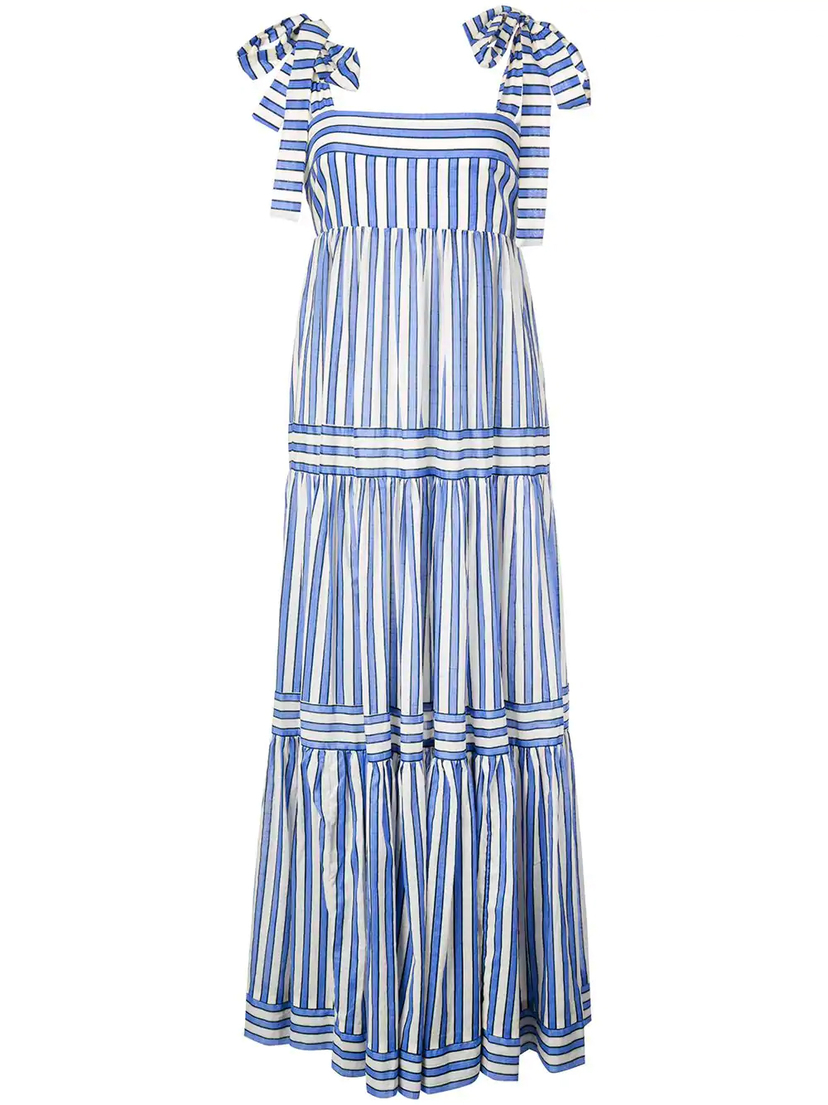 Zimmermann Verity Stripe Tiered Tie Dress Dresses