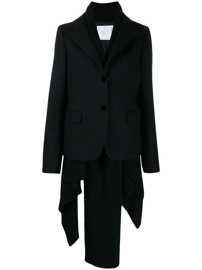 Sacai Melton X Knit Asymmetrical Sweater Blazer Outerwear Sale