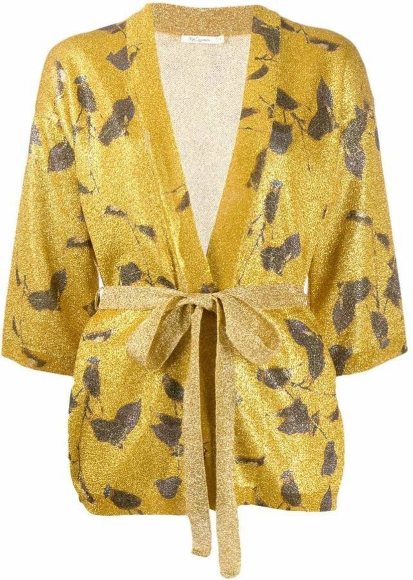Mes Demoiselles Grimmy Knitted Cardigan In Gold Tops