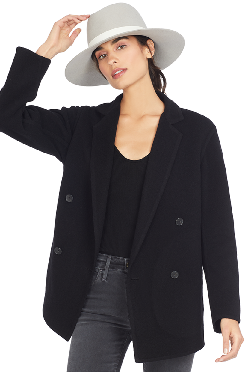 Vince Double Breasted Cardigan Coat (Black) Outerwear