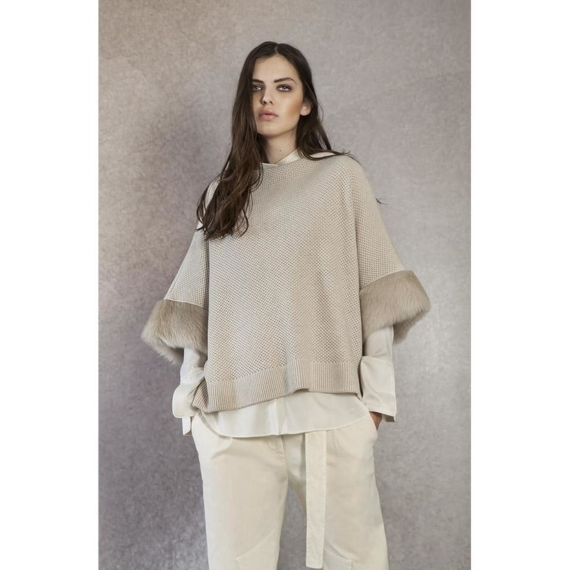 Tonet Wool & Cashmere Sweater with Shearling Cuffs Tops