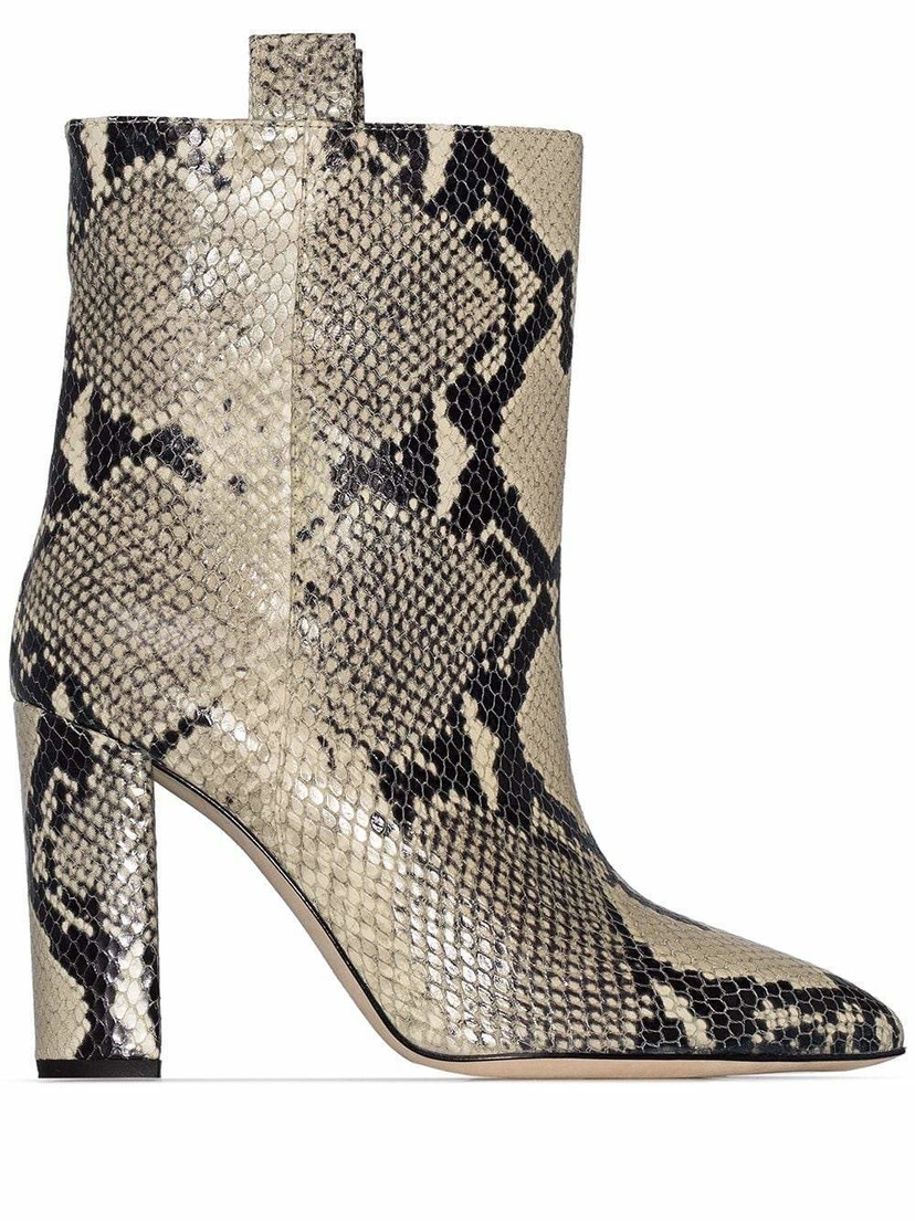 Paris Texas Python Print Short Booties Shoes