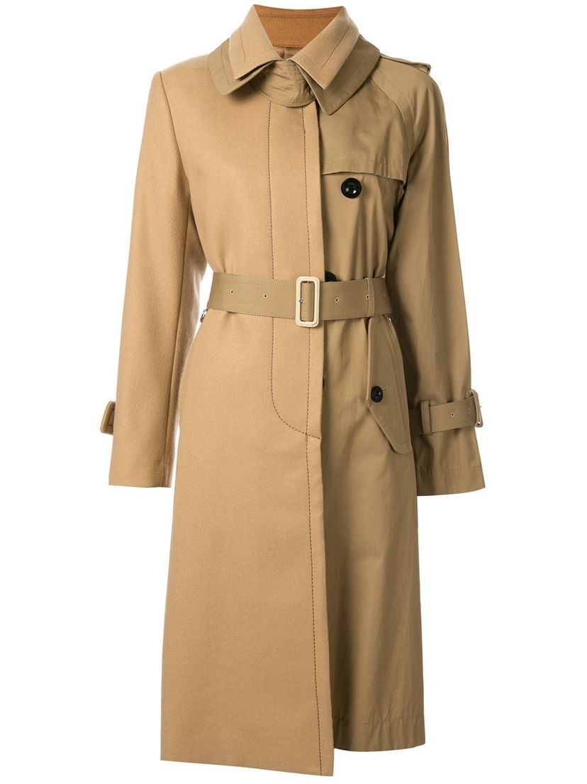 Sacai Melton Trench Coat with Belt Outerwear Sale