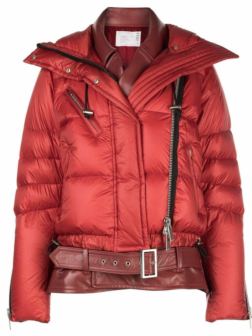 Sacai Oversized Puffer Down Jacket with Leather Layering Outerwear