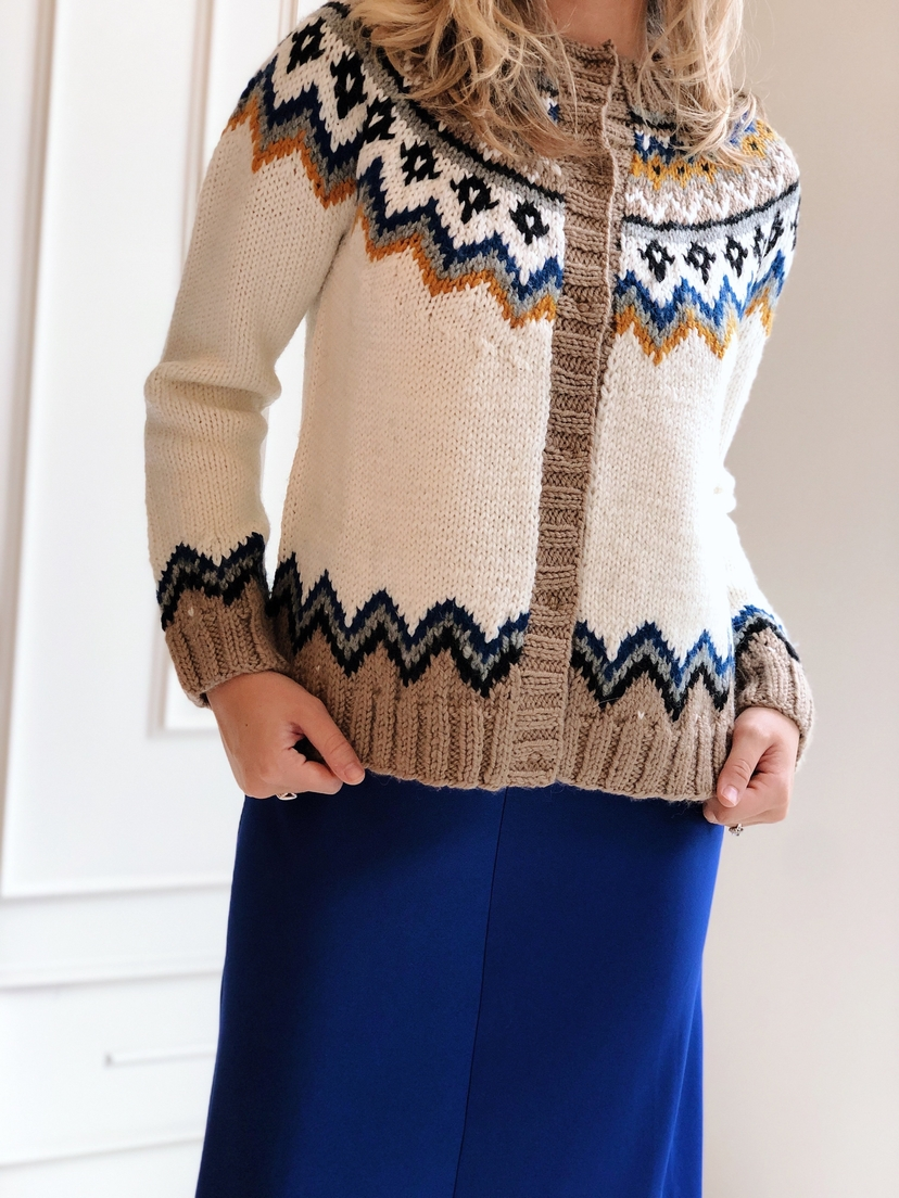 happy sheep Fair Isle Printed Cardigan Tops