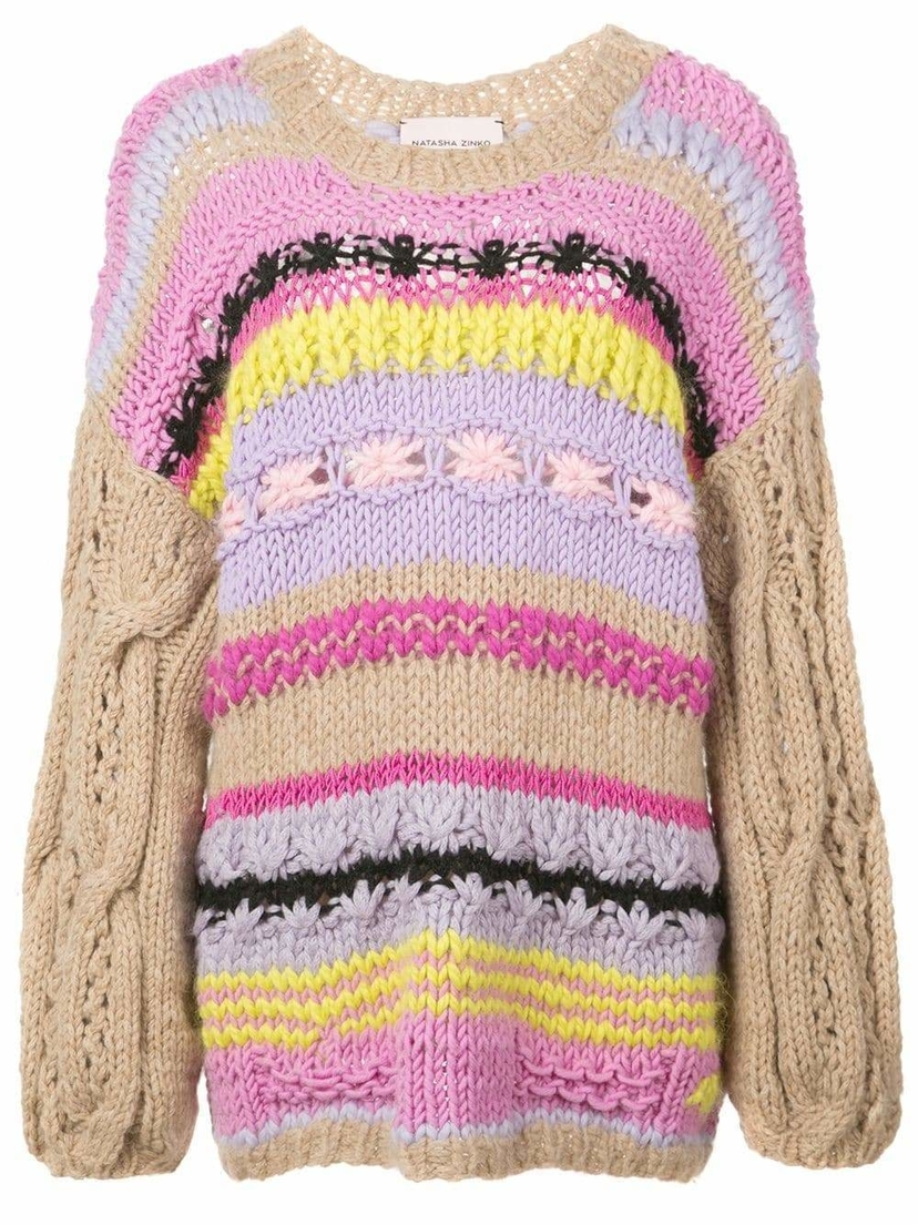 Natasha Zinko Crewneck Chunky Striped Hand Knit Sweater Sale Tops