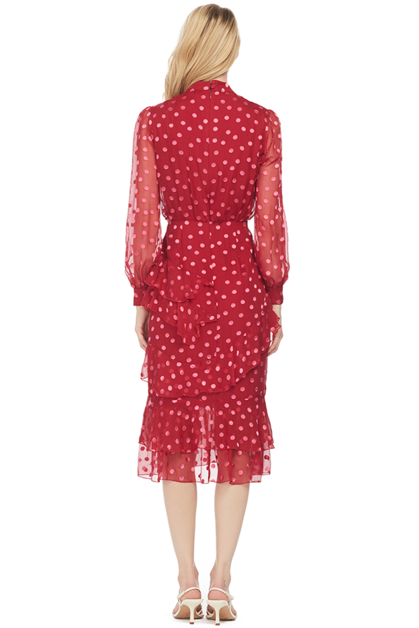 Saloni Isa Ruffle Dress (Rouge Pink) Dresses Sale