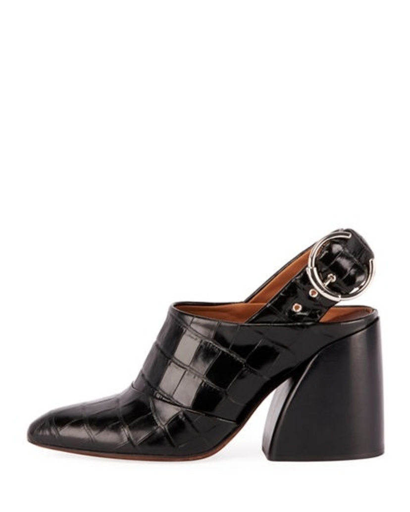 Chloé Wave Crocodile Embossed Leather Mules Sale Shoes