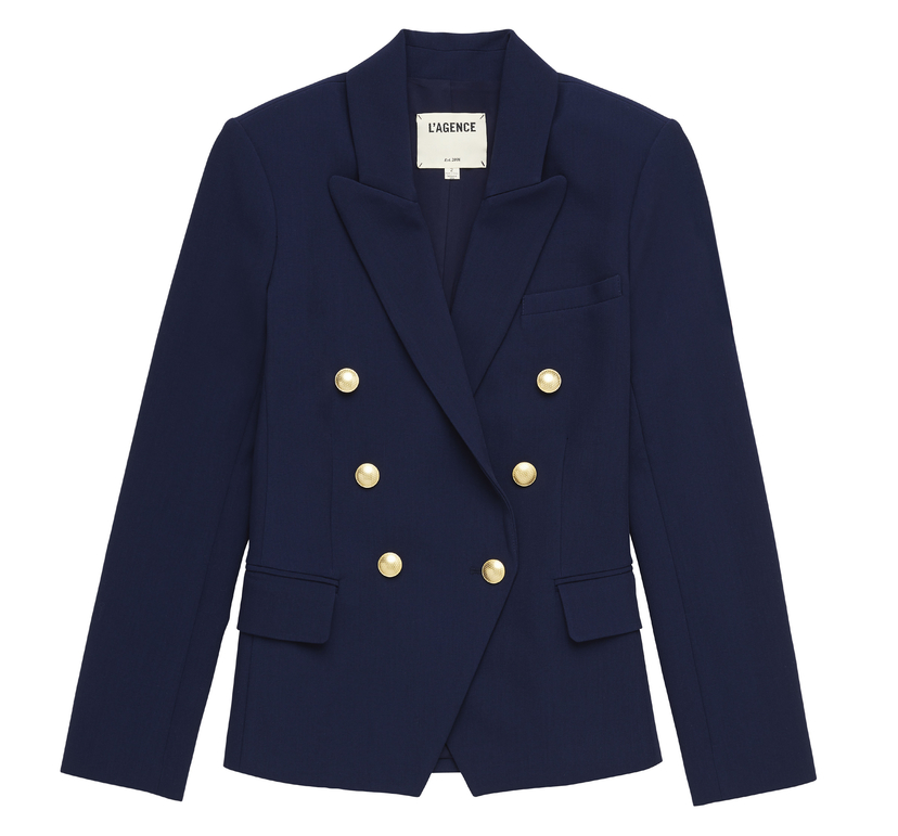 L'Agence Kenzie Double Breasted Blazer Outerwear