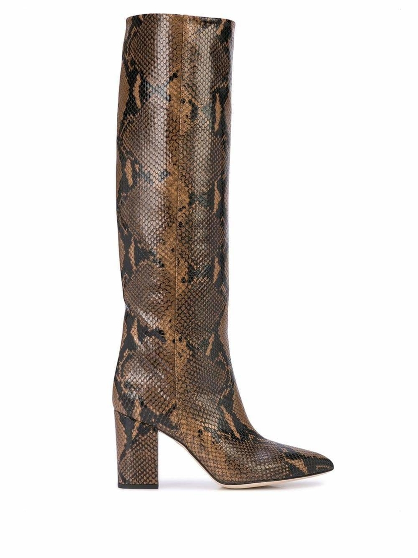 Paris Texas Faux Python Knee High Heeled Boots Shoes