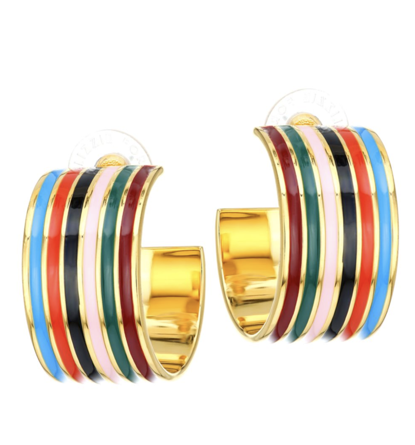Lizzie Fortunato Margot Hoops in Rainbow Jewelry