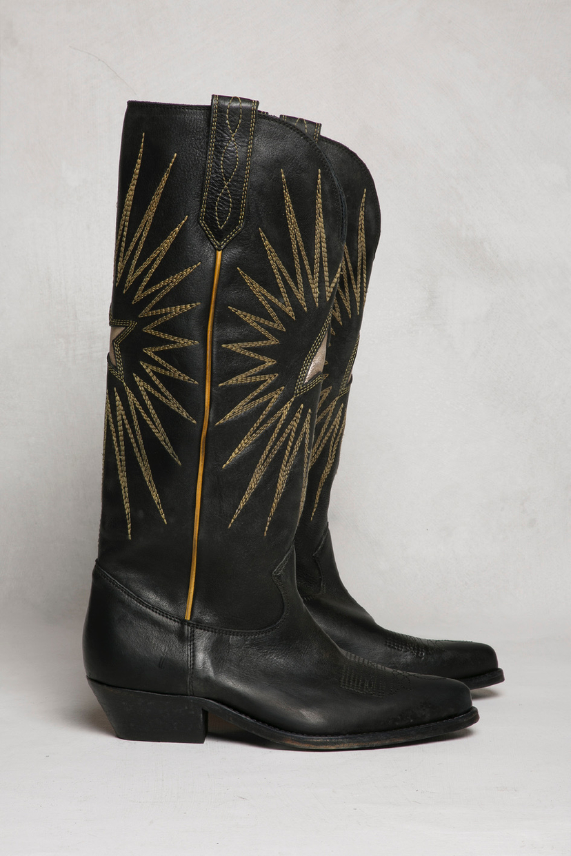 Golden Goose Deluxe Brand Wish Star Embroidered Leather Boots Shoes
