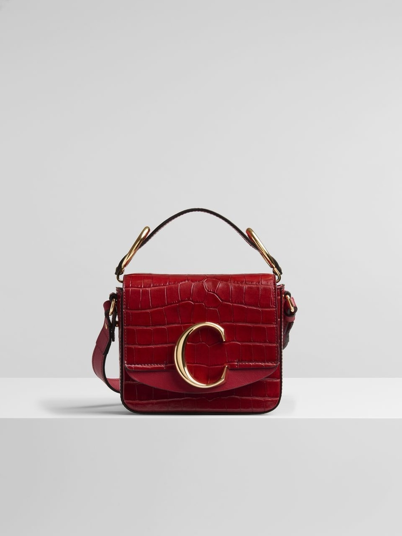 "Chloé Chloe Mini Chloe ""C"" Bag Dusky Red Bags Sale"