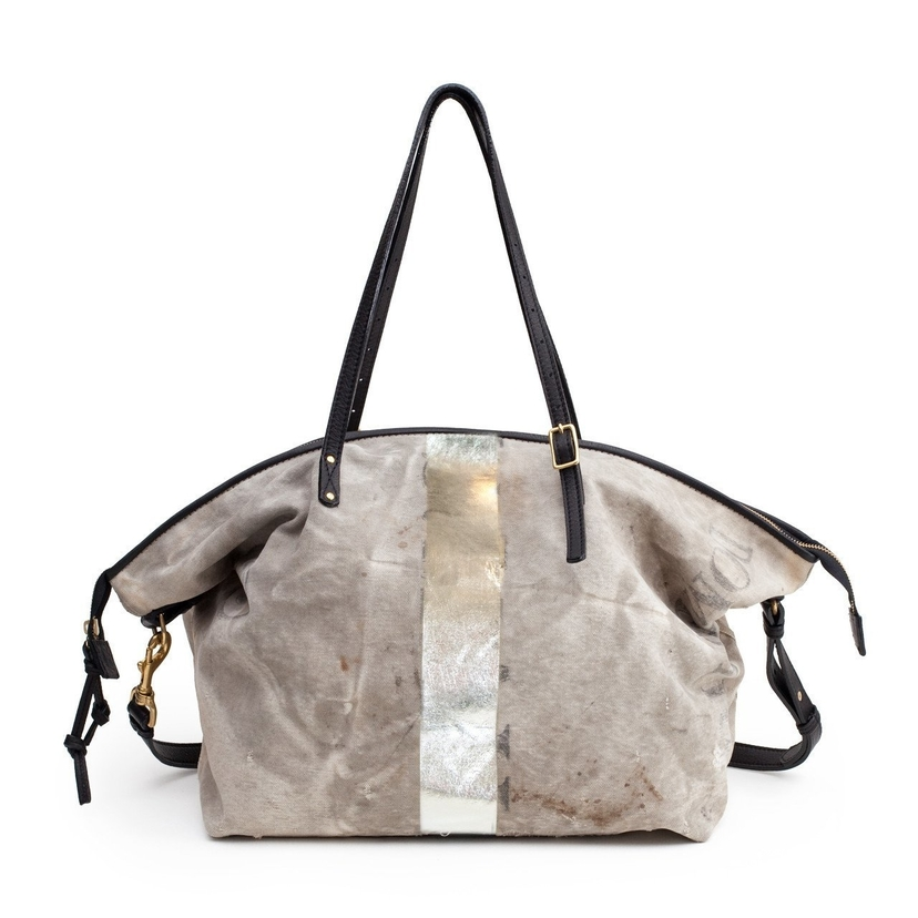 Kempton and Co POSTAL SILVER STRIPE WASHED MINT SILVER CROSSBOY TOTE