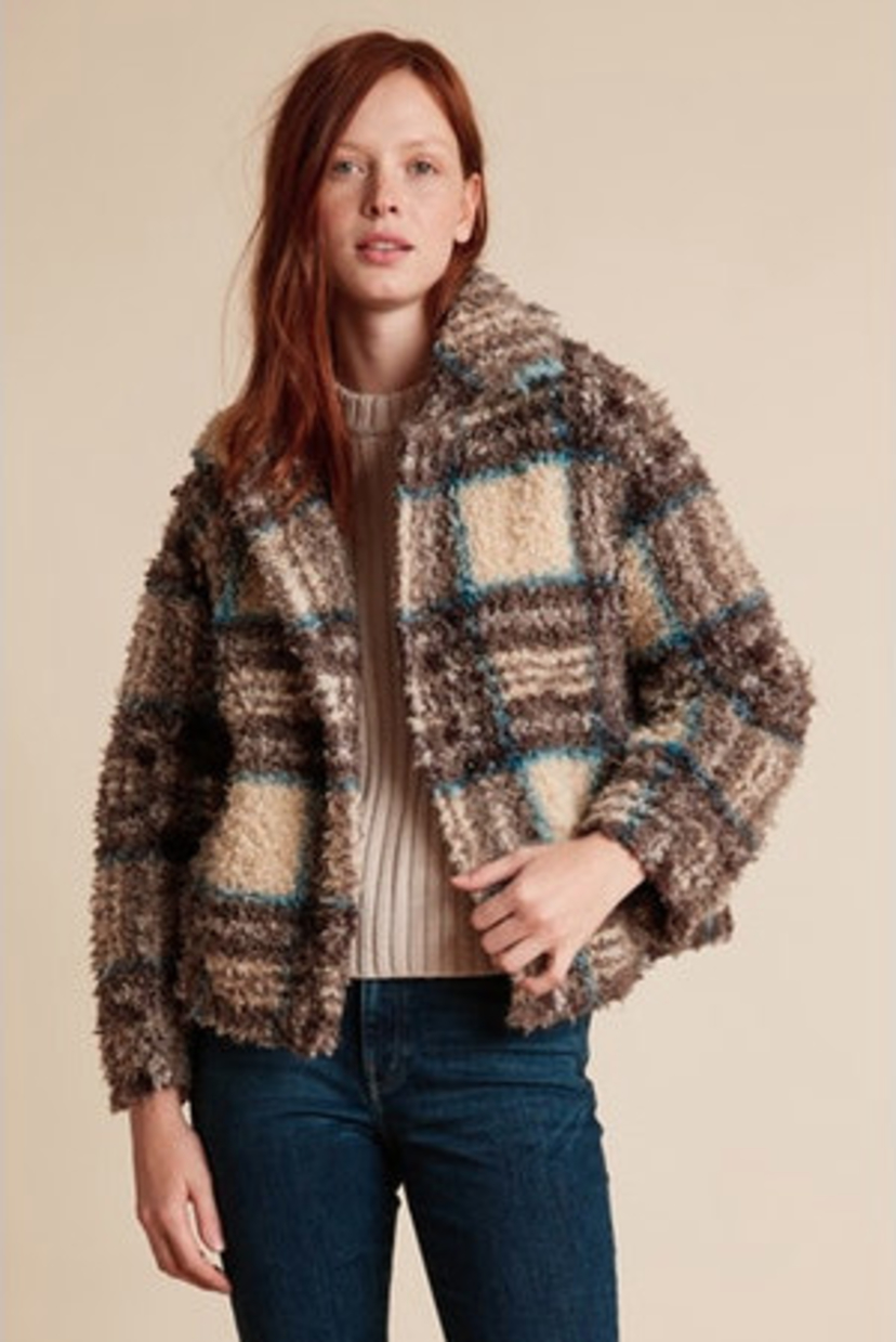 Velvet by Graham & Spencer Erica Plaid Sherpa Jacket Outerwear Sale