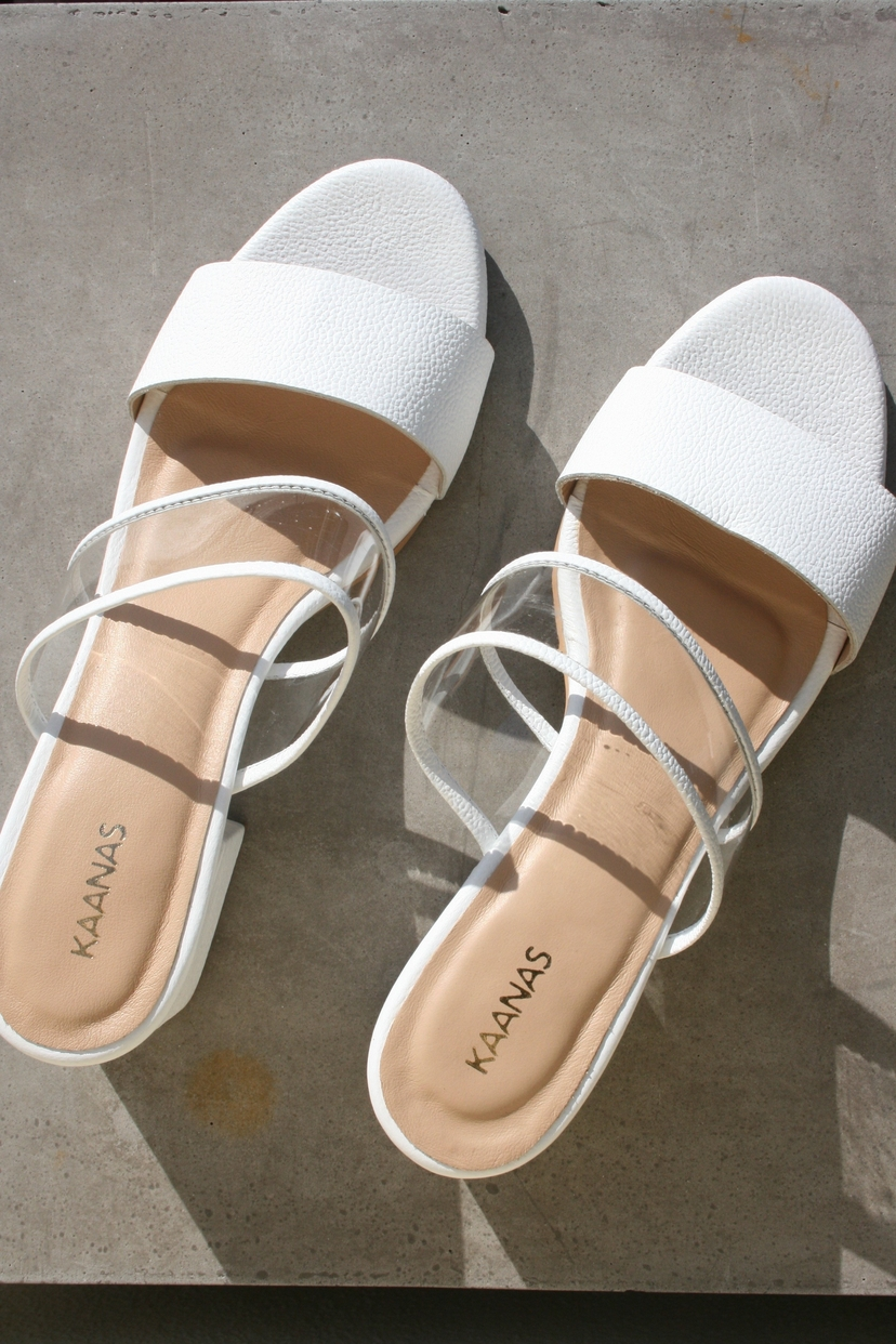 Kaanas KAANAS | Malta Double Band Mid Heel Slide- White