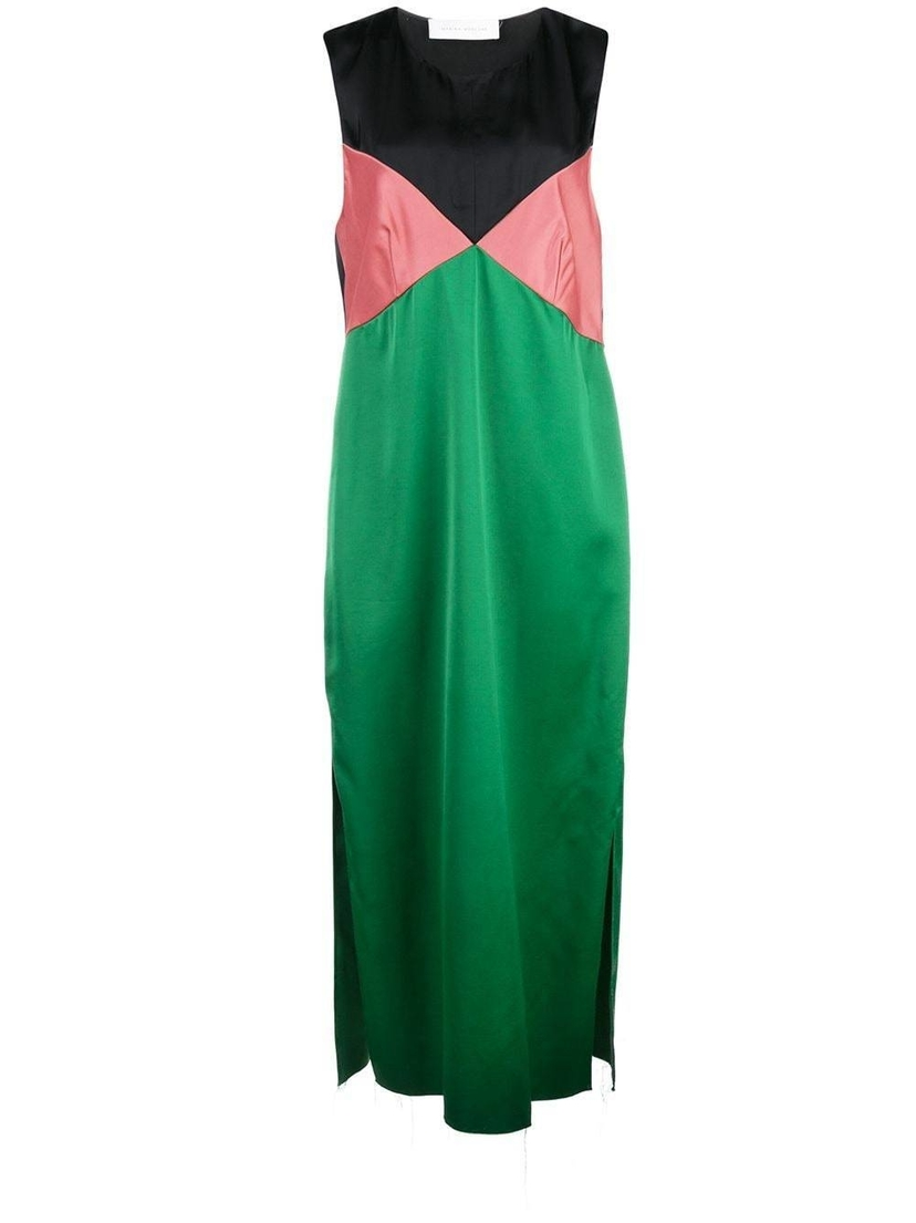 Marina  Moscone Tricolor Satin Midi Dress Dresses
