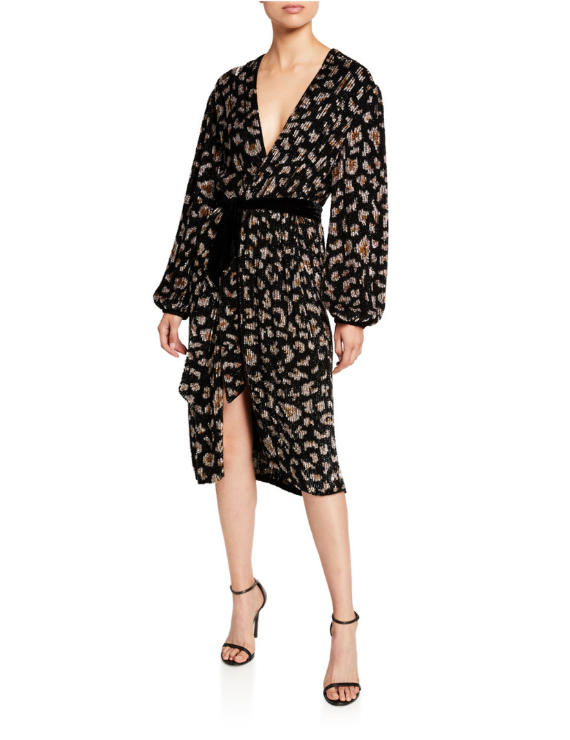 Retrofete Audrey Robe Dress - Black Leopard Dresses Sale