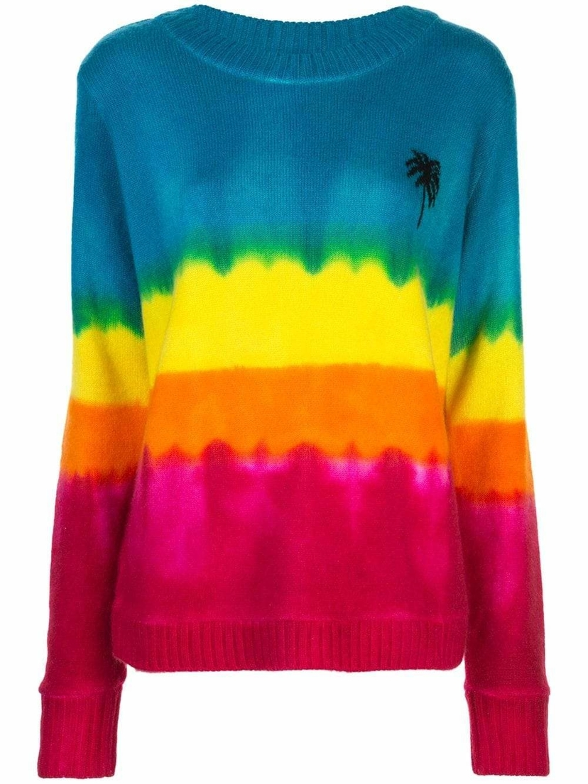 The Elder Statesman Crewneck Tie Dye Palm Tree Sweater Tops