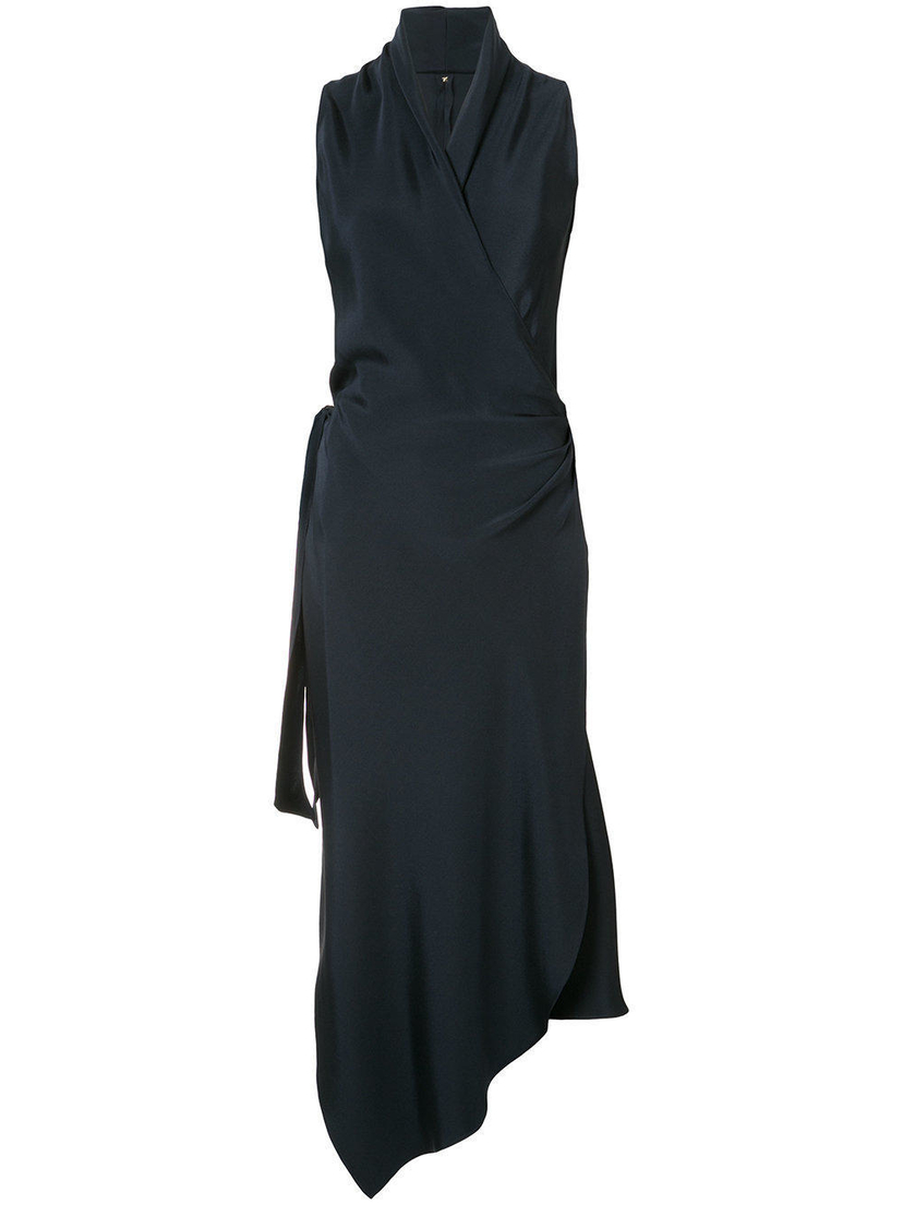 Peter Cohen Navy Blue Satin Silk Wrap Dress Dresses