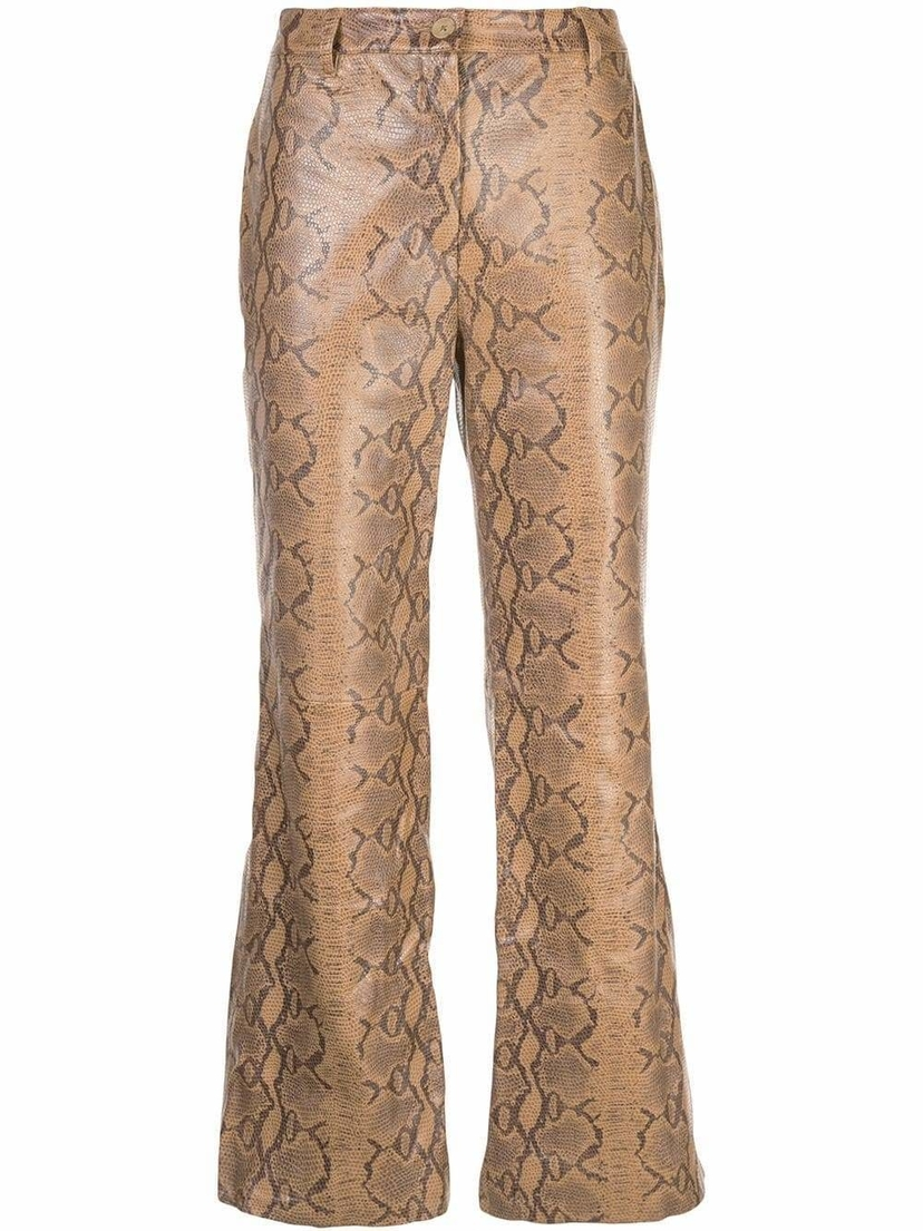 Nili Lotan Vianna Leather Python Cropped Pants Pants Sale