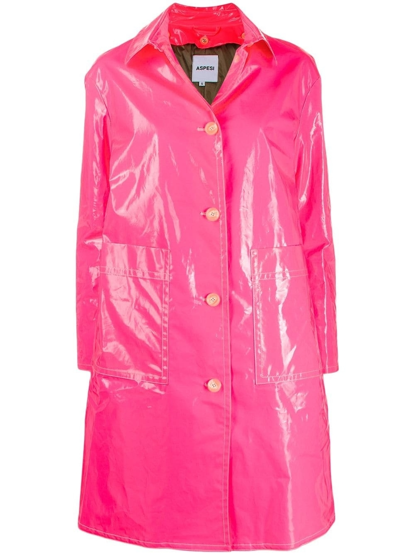 Aspesi Fuchsia Laminated Coat Outerwear Sale