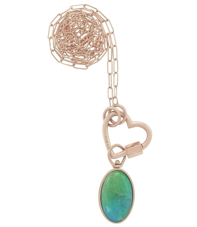 Marla Aaron Rose Gold Necklace Combo with Green Turquoise Charm Jewelry
