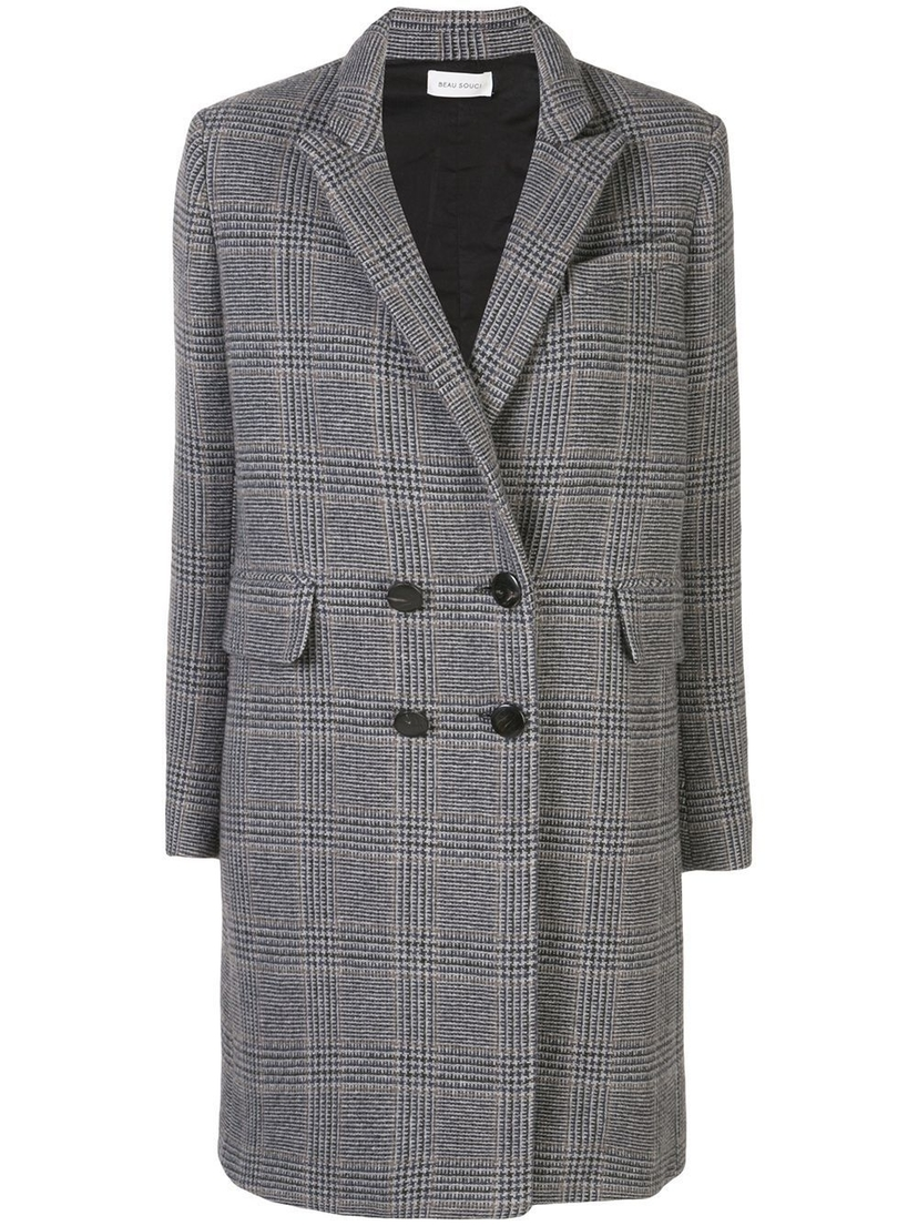 Beau Souci Officer Plaid Cashmere Coat Outerwear Sale