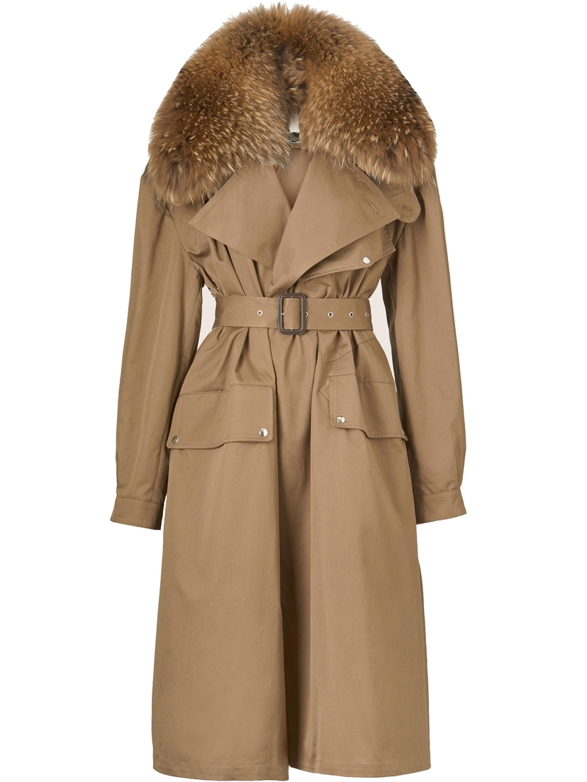 Utzon Canvas Trench Coat with Fur Collar Outerwear Sale