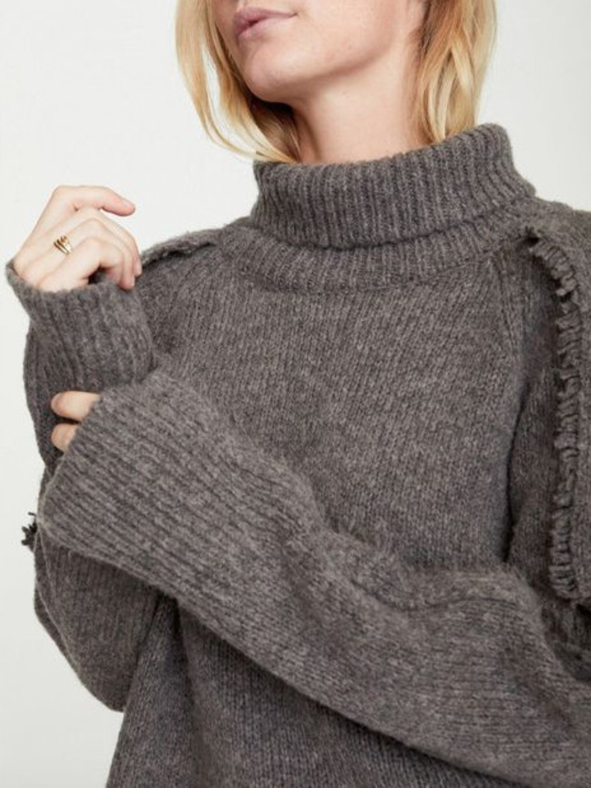 Brochu Walker Odene Fringe Turtleneck - Musk Melange Tops