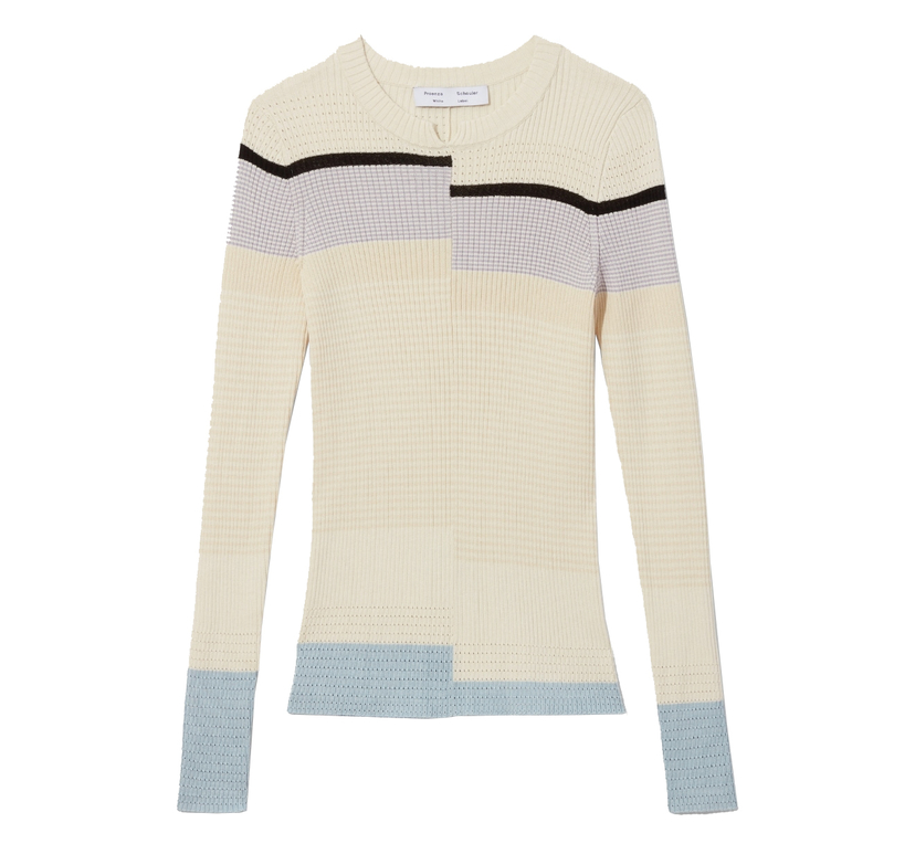 Proenza Schouler Multicolor Stripes Fine Gauge Rib Knit Top Tops
