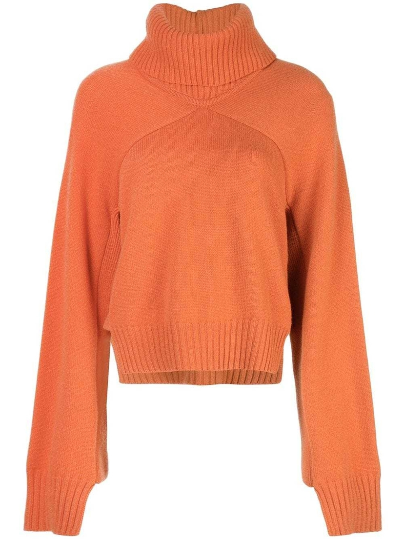 Rosetta Getty Cropped Paneled Turtleneck Tops