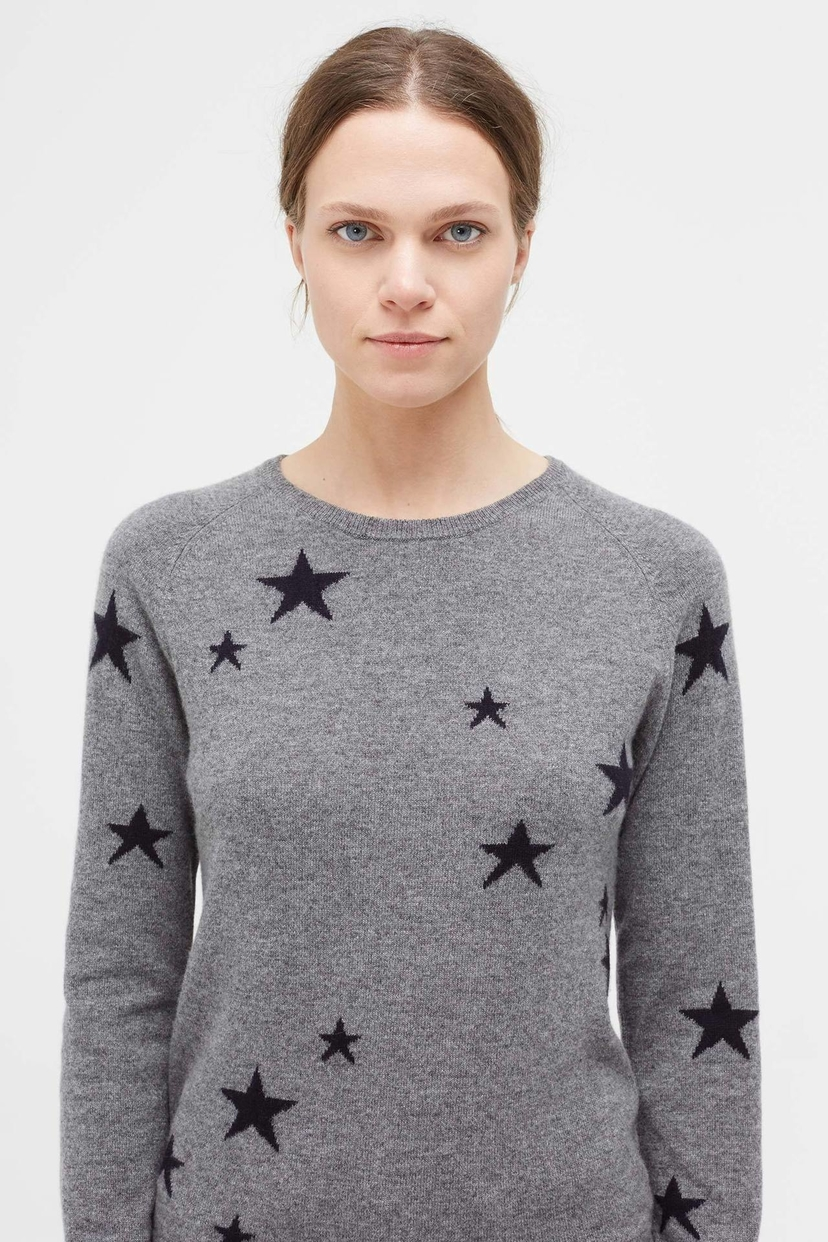 Chinti and Parker Cashmere Star Sweater in Grey Tops