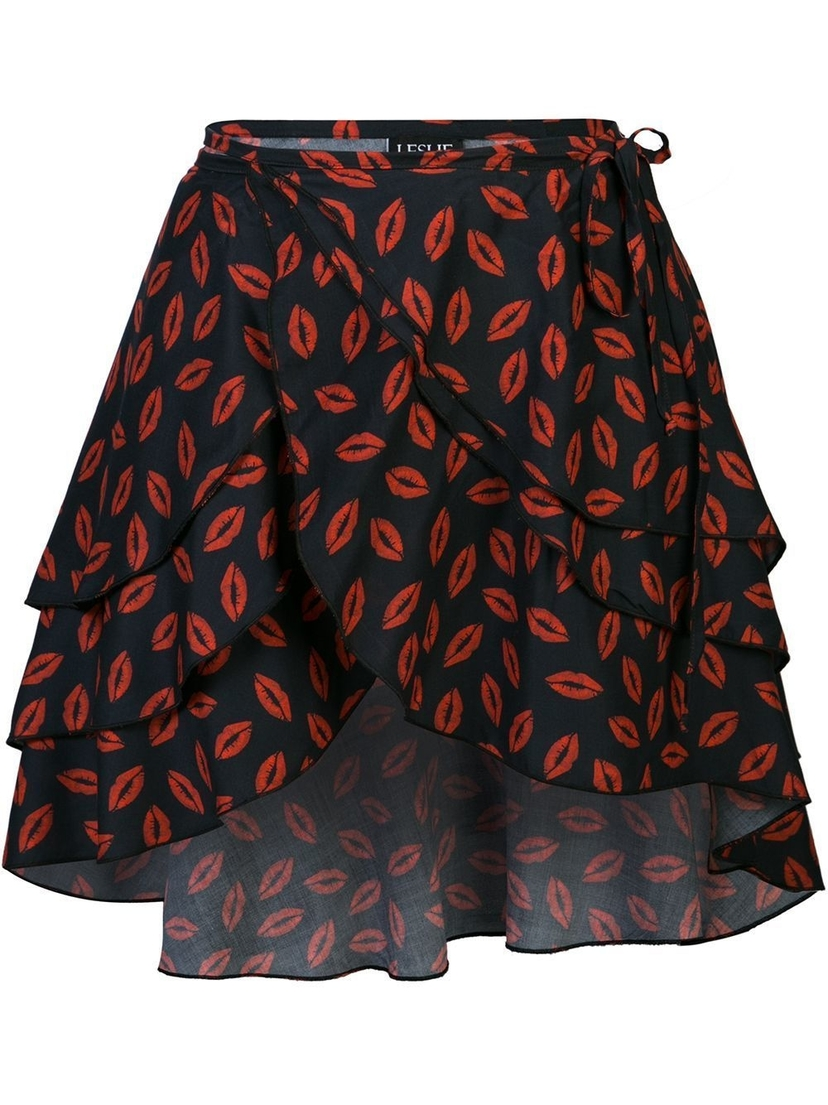 Leslie Amon Wrap Mini Lip Print Skirt Skirts