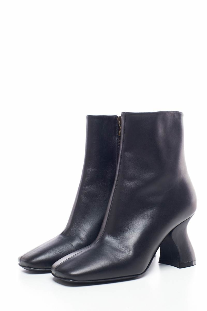 Dries Van Noten Dries Van Noten Black Leather Ankle Booties 37 Shoes