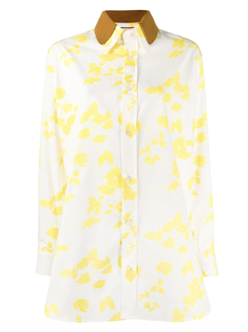 Plan C Leaf Print Button Down Shirt Sale Tops