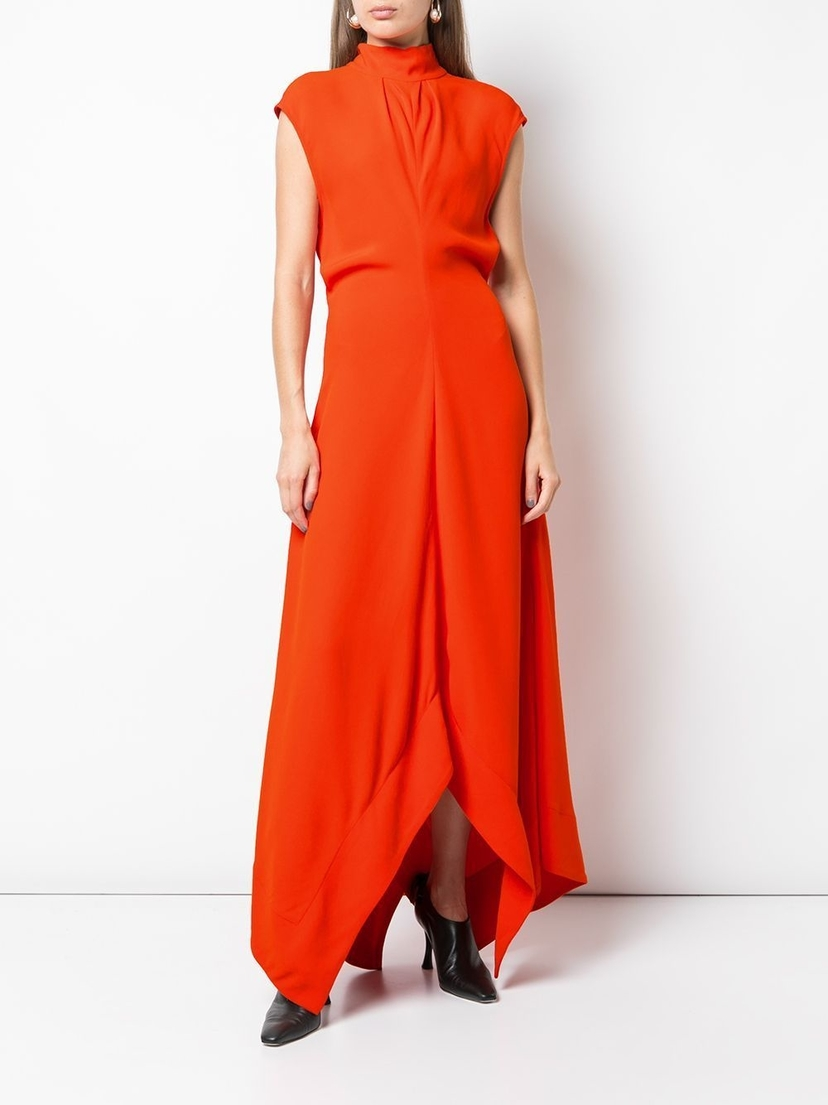 Proenza Schouler Mock Neck Asymmetric Maxi Dress Dresses