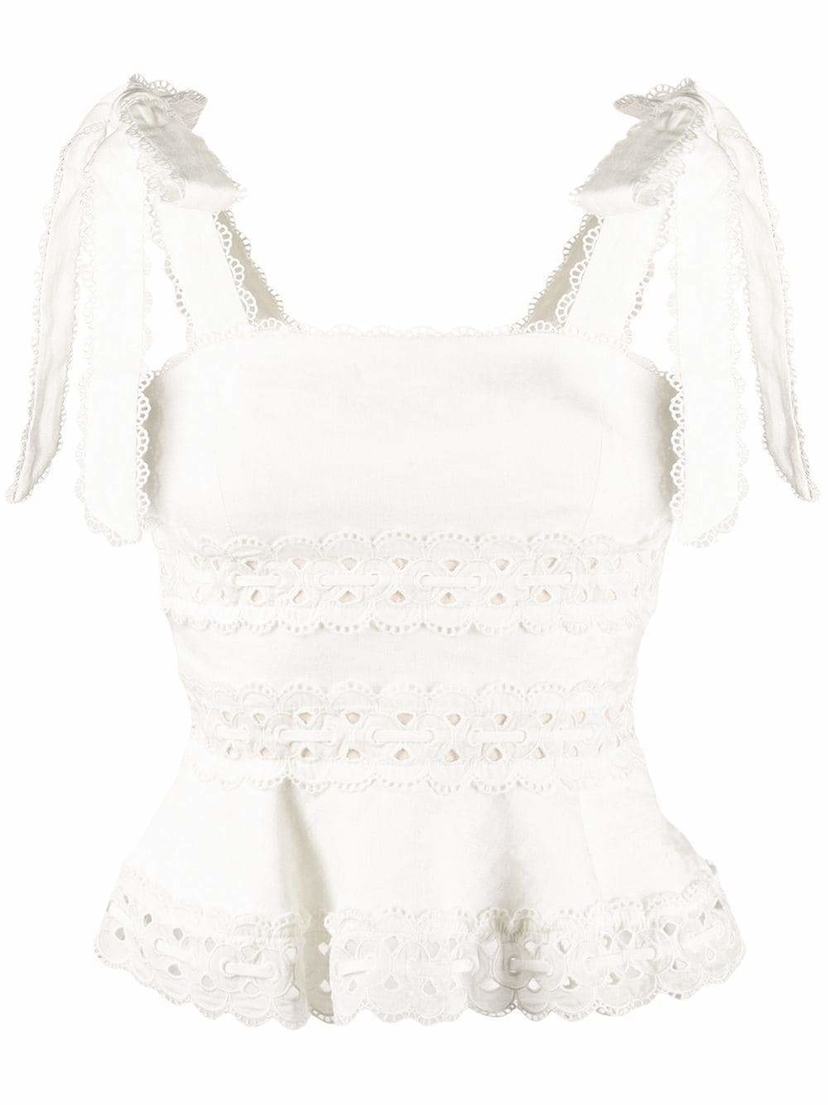 Zimmermann Tie Shoulder Peplum Crop Top Tops